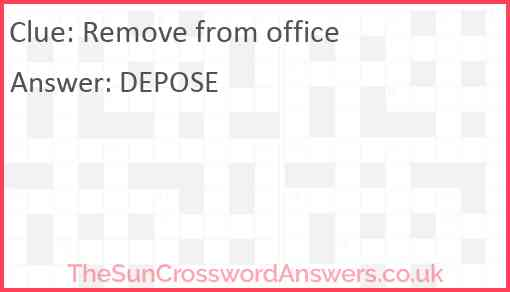 Remove from office Answer
