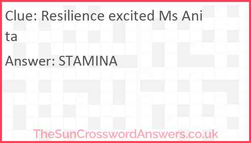 Resilience excited Ms Anita Answer