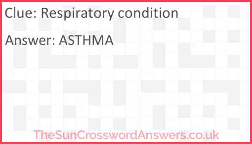 Respiratory condition Answer