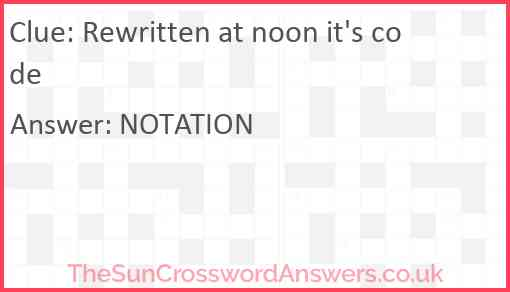 Rewritten at noon it's code Answer