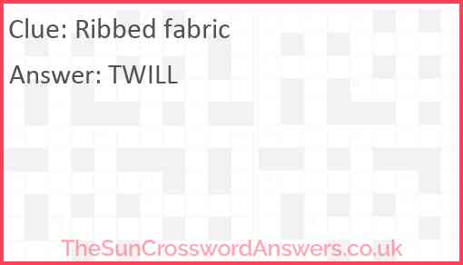 Ribbed fabric Answer