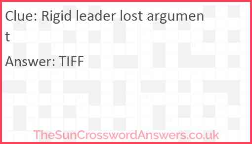 Rigid leader lost argument Answer