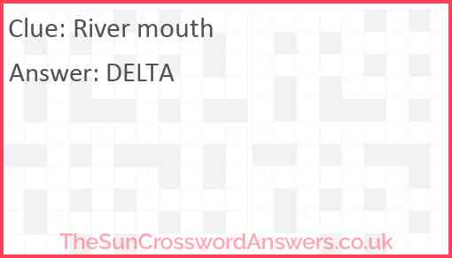 River mouth Answer