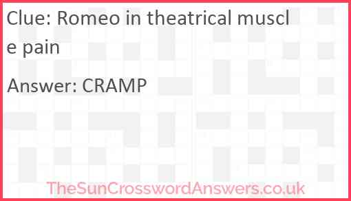 Romeo in theatrical muscle pain Answer