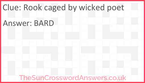 Rook caged by wicked poet Answer