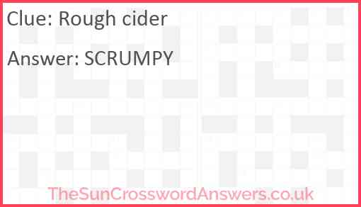 Rough cider Answer
