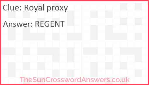 Royal proxy Answer