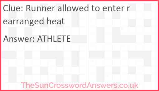Runner allowed to enter rearranged heat Answer