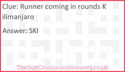 Runner coming in rounds Kilimanjaro Answer