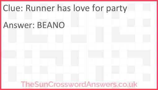 Runner has love for party Answer