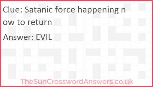 Satanic force happening now to return Answer