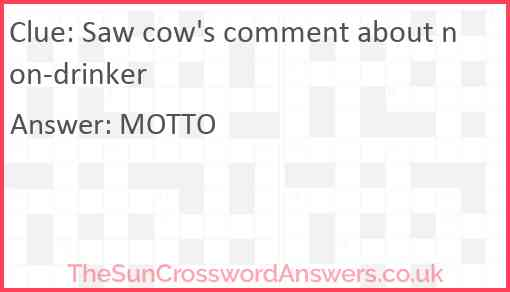 Saw cow's comment about non-drinker Answer