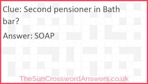 Second pensioner in Bath bar? Answer