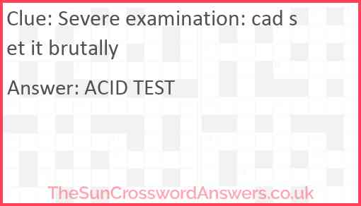 Severe examination: cad set it brutally Answer