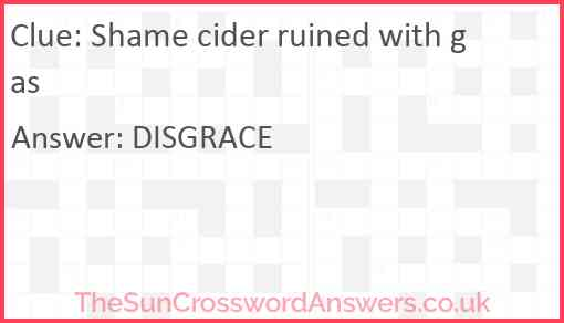 Shame cider ruined with gas Answer