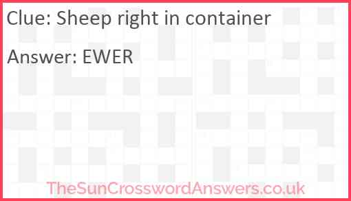 Sheep right in container Answer