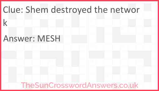 Shem destroyed the network Answer