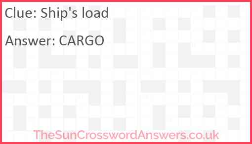 Ship's load Answer