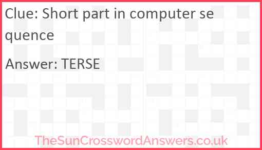 Short part in computer sequence Answer