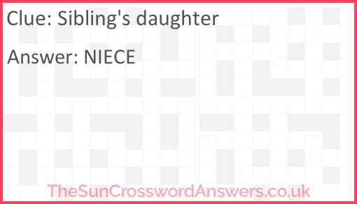 Sibling's daughter Answer