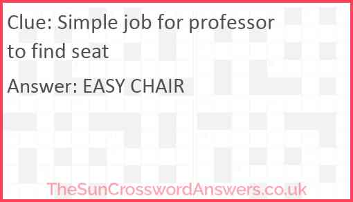 Simple job for professor to find seat Answer