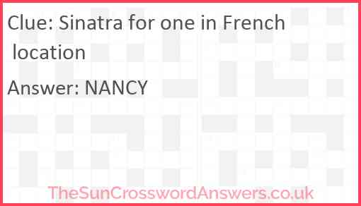 Sinatra for one in French location Answer