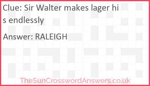 Sir Walter makes lager his endlessly Answer
