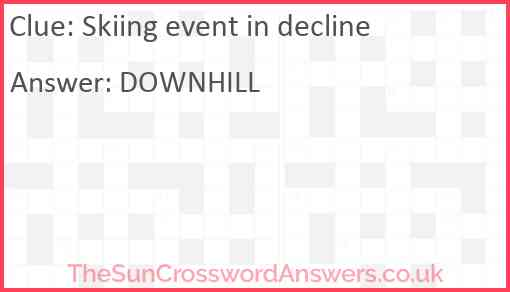 Skiing event in decline Answer