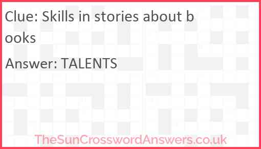 Skills in stories about books Answer
