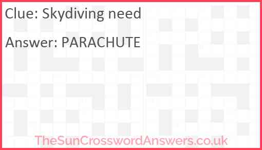 Skydiving need Answer