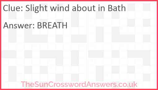 Slight wind about in Bath Answer