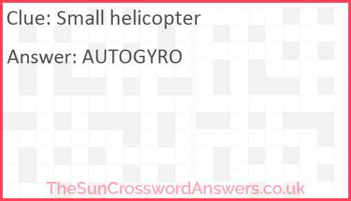 Small helicopter Answer