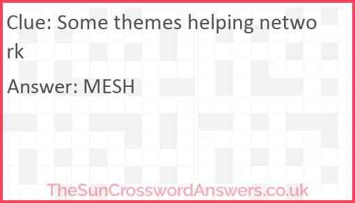 Some themes helping network Answer