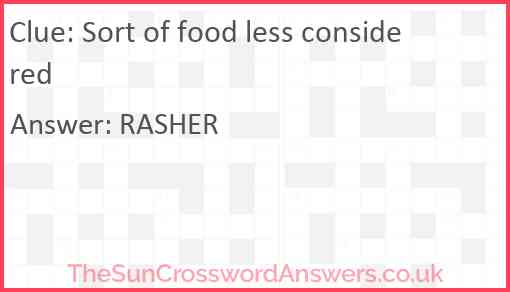 Sort of food less considered Answer