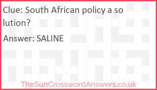 South African policy a solution? Answer