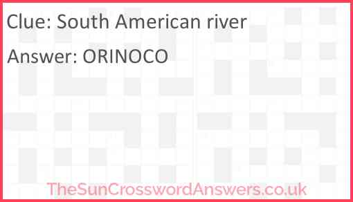 South American river Answer