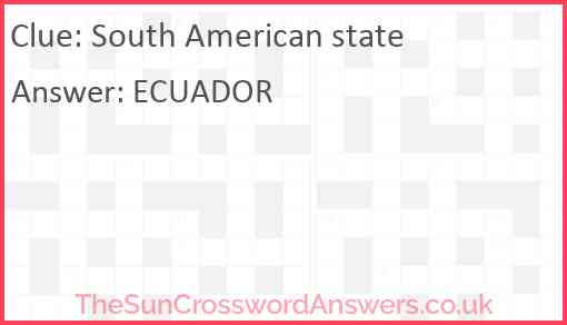 South American state Answer