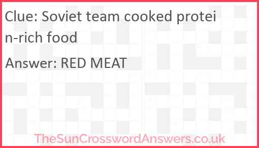 Soviet team cooked protein-rich food Answer