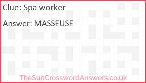 Spa worker Answer