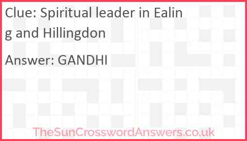 Spiritual leader in Ealing and Hillingdon Answer