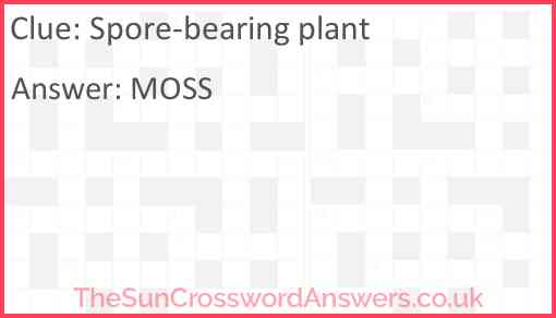 Spore-bearing plant Answer