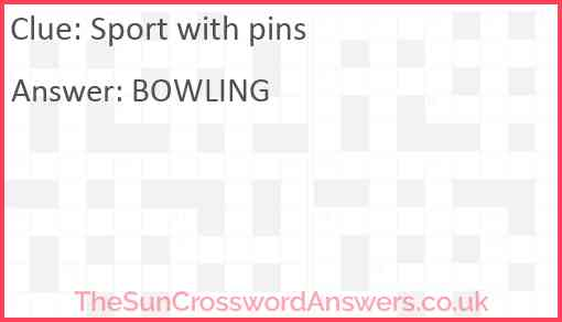 Sport with pins Answer
