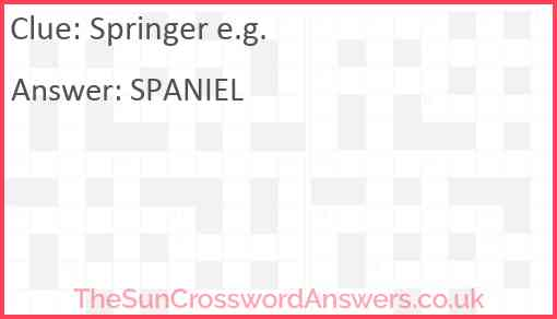 Springer e.g. Answer