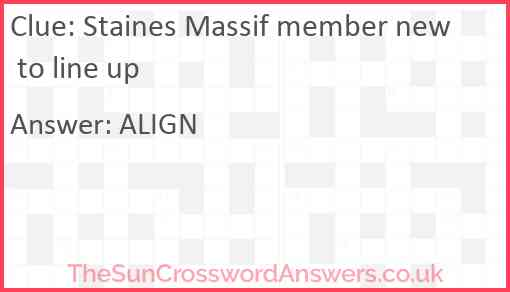 Staines Massif member new to line up Answer
