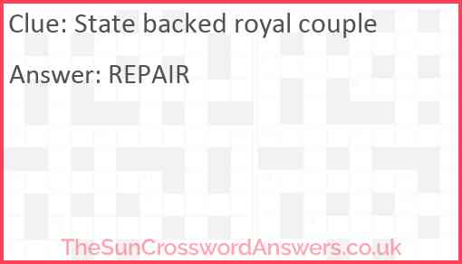 State backed royal couple Answer