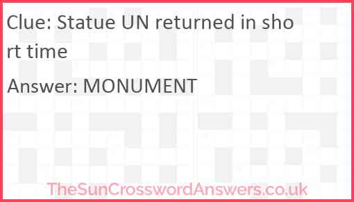 Statue UN returned in short time Answer