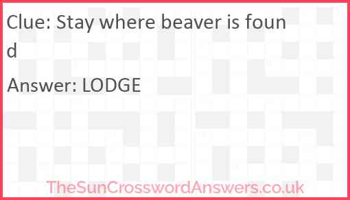 Stay where beaver is found Answer