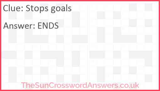 Stops goals Answer