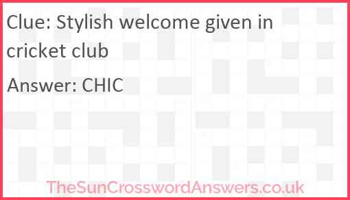 Stylish welcome given in cricket club Answer