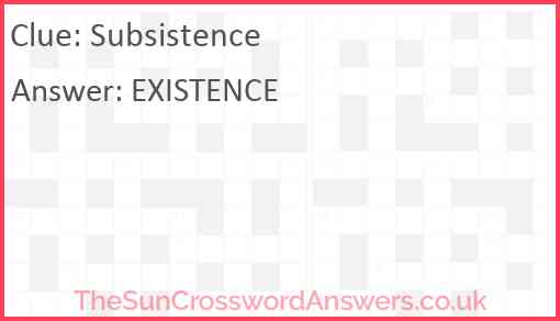 Subsistence Answer